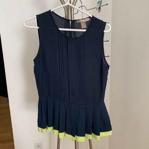 FOREVER 21 Pleated top with neon hem